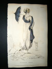 Ackermann 1809 Hand Col Regency Fashion Print. Promenade Dress 2-18